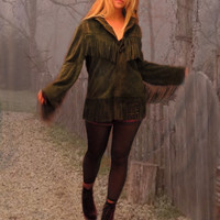vintage suede fringed coat / southwestern soft leather jacket in army moss green / fall winter country western hippie piece