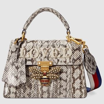 Gucci Queen Margaret small snakeskin top handle bag