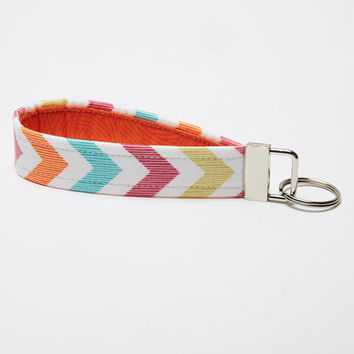 Chevron Key Chain, Fabric Key Fob, Handmade Wristlet  - Tribal Inspired - Orange, Turquoise, Green
