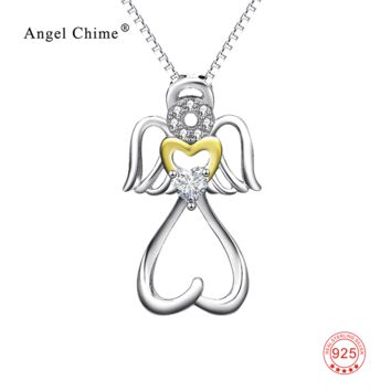 925 Sterling Silver Necklace Angel With Wings Love Heart Crystal CZ Pendant Statement Necklaces Collier Kolye Jewelry For Women