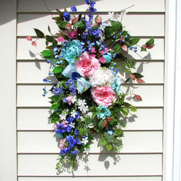 Spring swags for front door, country home wreath, wreath swag, front porch decor, large floral arrangement, teardrop floral swag, Easter