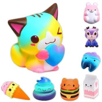 Kawaii Anti-stress Cute Squishy Charm Slow Rising Unicorn Squishes Galaxy Peach Squishi Banana Poo Tooth Cake Cream PU Toy