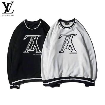 Louis Vuitton Autumn Winter Fashionable Women Men Casual LV Letter Print Long Sleeve Round Collar Sweater Pullover Top Sweatshirt