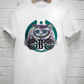 Custom Tshirt bassnectar cheshire cat in black screenprint