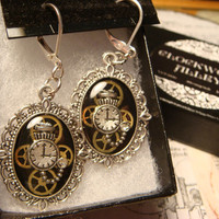 Victorian Style Clockwork  Watch Part Gears with Tiny Pocket Watch Steampunk Style Leverback Earrings (1837)