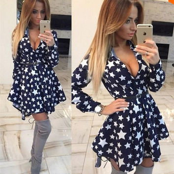 Winter Dress V-neck Waistband Women's Fashion One Piece Dress [6325942273]