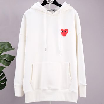 PLAY autumn and winter tide brand plus velvet female loose love print hoodie White