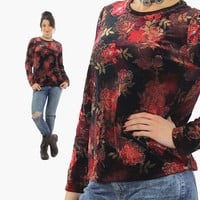 Velvet shirt red floral Vintage 1990s grunge top shirt Long sleeve Gothic black party rose print 90s Medium