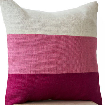 Chic Pink Burlap Throw Pillows Color Block With Pink Hues In Geometric Bold Stripes