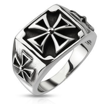 Triple Iron Cross - FINAL SALE Three iron cross black oxidized stainless steel men's signet ring