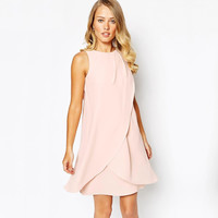 Pink Velvet Wrap Front And Bow Back Dress