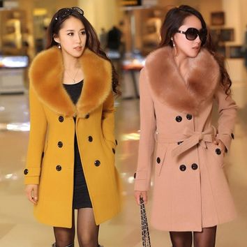 Winter Women's Double Breasted Big Fur Collar Plus Size Wool Coat Long Winter Jackets Parka Coats Outerwear Good Quality (
