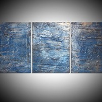 """View: triptych 3 panel wall art colorful metallic silver blue images """" Triptych Silver 2 """" effect 3 panel wall abstract canvas abstraction 48 x 20 """" other sizes available 