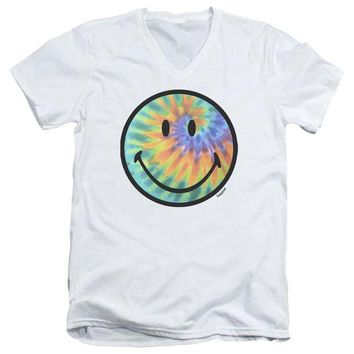 ac NOOW2 Smiley World - Tie Dye Face Short Sleeve Adult V Neck
