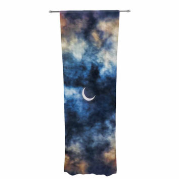 """Bruce Stanfield """"Night Moves"""" Blue Orange Decorative Sheer Curtain"""