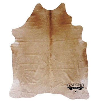 New Cowhide Rugs - Premium Quality - Solid Beige (Honey) Cowhide - 100% Natural