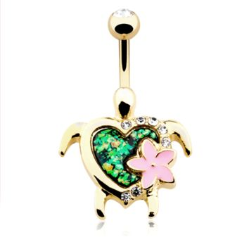 Kauai Flower Turtle Belly Button Ring Navel Ring Body Jewelry