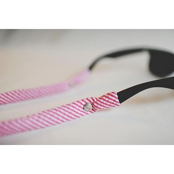 Seersucker Generation 2.0 Sunglass Straps in Cotton Candy Pink by CottonSnaps