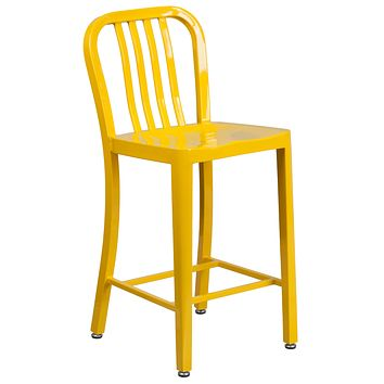 24'' High Metal Indoor-Outdoor Counter Height Stool with Vertical Slat Back
