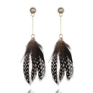 HOCOLE 2018 Fashion Feather Drop Earrings for Women Ethnic Boho Big Long Dangle Statement Earring Wedding Jewelry Accessories