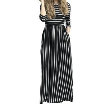 Femme Long Maxi Dresses Winter Striped Casual Sundress Pockets Three Quarter Sleeve Women Dress Robe Oversized GV449