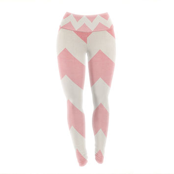 "Catherine McDonald ""Sweet Kisses"" Pink Chevron Yoga Leggings"