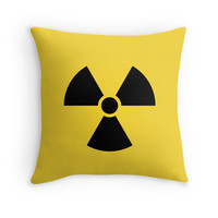 Nuclear radiation symbol throw pillow