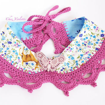 Floral Peter Pan Collar Blue flowers burgundi Lace romantic crocheted Fabric Necklace handmade Butterfly Ceramic Button