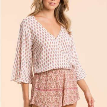 Romper With Contrasting Patterns