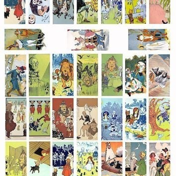 The Wizard OF oz vintage book art digital download collage sheet 1 x 2 INCH dominos