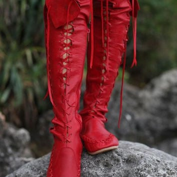 Vintage Women's Flat Tassel Over Knee High Boots Pull On Casual Punk Style Round Toe Smooth Leather Ladies Fashion Cowboy Boots