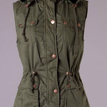 Military Style Faux Fur Lined Vest - Olive