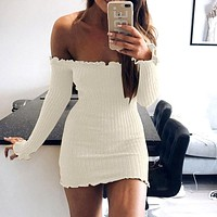 Sexy Strapless Long Sleeves Pack Hip Dress