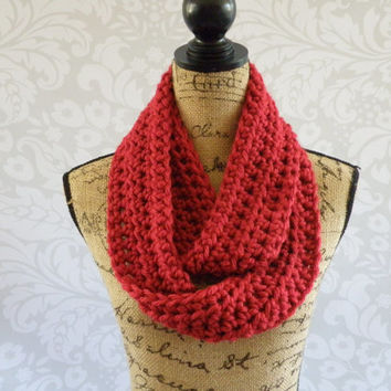 Ready To Ship Infinity Scarf Cranberry Dark Red Thick Women's Accessory Infinity Scarf
