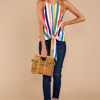 Nothing's Changed Yellow Multi Striped Tie Top