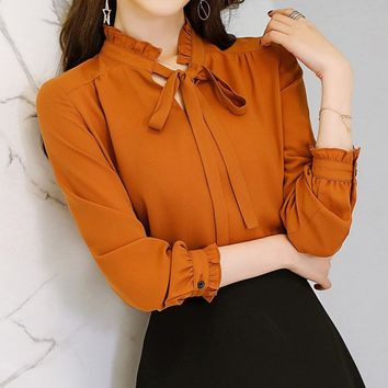 Korean Casual Chiffon Blouse Autumn 2018 New Long Sleeve White Shirt Bow Lace Up Women Clothes Streetwear Slim Shirt Ladies Tops