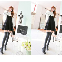 New College Wind fake two long-sleeved dress waist