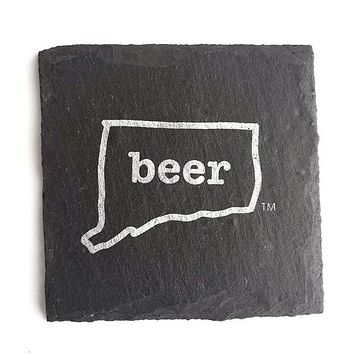 Connecticut Beer Slate Coaster -- 4-in