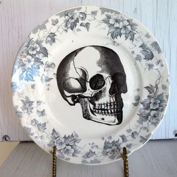 Black Anatomical Skull, Vintage Wall Plate, Altered Art, Black White Transferware Edgy Decor