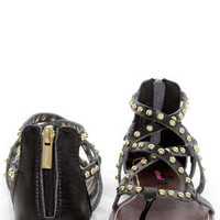 Dollhouse Gladiator Black Studded Strappy Flat Sandals