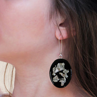 Black and silver earrings. Oval dangle long drop with metallic flakes, unique minimal lightweight ooak surgical steel modern handmade