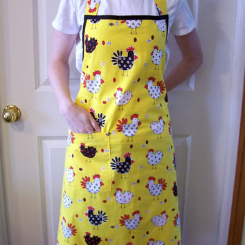 Full Apron in Yellow Chicken Fabric with Pocket and Black Ties
