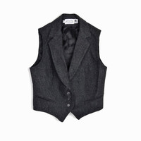 Vintage Women's Tailored Wool Vest in Charcoal Gray