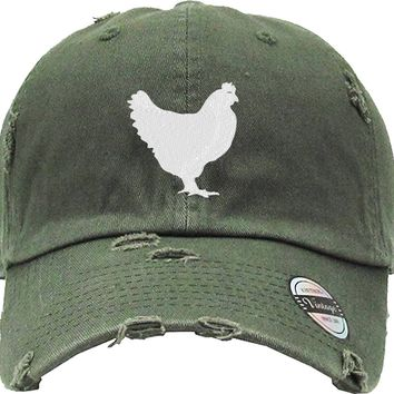 CHICKEN Distressed Baseball Hat