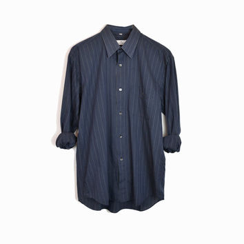 Vintage Pinstriped Boyfriend Shirt in Navy Blue / 80s Courreges Paris - men's medium