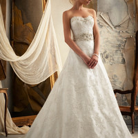 Mori Lee 1913 Strapless Lace A-Line Wedding Dress