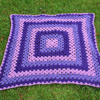 Purple Granny Square Afghan, Grape Baby Blanket Throw 4 X 4