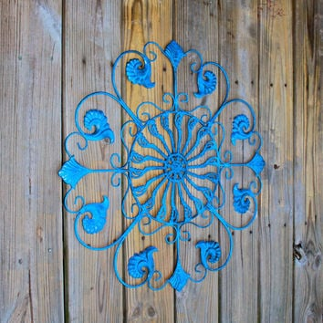Metal Wall Fixture /Bright Blue /Distressed Patio Decor /Painted /Outdoor Up Cycled Iron Art /Ornate Design /Beach cottage
