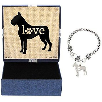 Dog Breed Love Dog Paw Silhouette Gift Charm Bracelet SilverTone Bracelet Jewelry Box