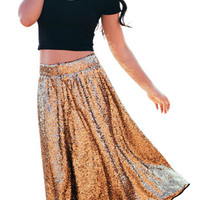 Gold Sequin Swing Skirt